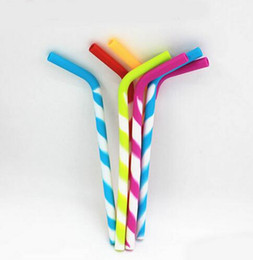 Wholesale Wholesale Straw - Reusable Silicone Eco Straws for Smoothie Flexible Sucker Drinking Straw for Mugs Tumbler Silicone Stripes Suckers