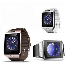 Wholesale Gsm Unlocked Watch Phones - Bluetooth Smart Watch DZ09 Bluetooth QQ Wechat Locates Memory Support SIM GSM Slot Camera Dorado Card Intelligent Unlock Mobile Phones Utili