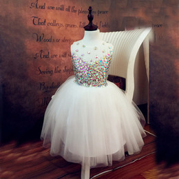robe de cristal de strass de mariage Promotion Lovely Ivory Ball Gown Rhinestone Crystal Flower Girl Robes pour Beach Wedding 2017 Longueur au genou Enfants Kids Pageant Dress for Girls Glitz