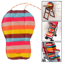 Wholesale Rainbow Car Mats - Wholesale- Thick Striped Rainbow Infant Baby Stroller Car Seat Cushion Pushchair Mat Cushion Cover Stroller Accessories