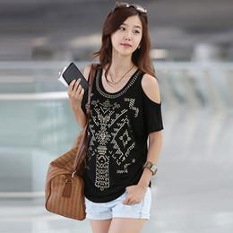 Wholesale Diamonds Shirt Womens - Fashion Vintage T Shirt Womens Off Shoulder Casual Tops Diamonds XXL T Shirt For Women Loose Solid Casual Poleras De Mujer