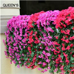 Wholesale Violet Silk Flowers - Lifelike Violet Orchid Ivy Artificial Flower Hanging Plant Silk Garland Vine For Wedding Party Home Decoration 2Pcs Lot