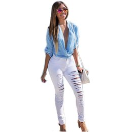 Wholesale Sexy Foot Wear - Wholesale- 40%N6015ZS 2017 new women's sexy big hole personality wear broken high waist Slim feet pure color leisure button jeans