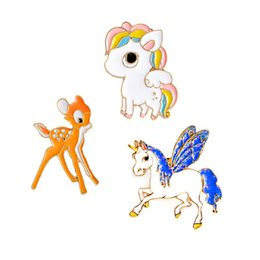 Wholesale Hot Cute Cartoon - 2017 hot new fashion brooch drop oil animal cute colorful pony unicorn deer animal cartoon brooch button children decoration gift wholesale