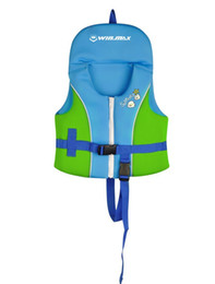 Wholesale Inflatable Life Jackets Kids - Wholesale- Inflatable Floatable 2017 Red Blue Very Cute Baby Swimming Kids Life Jacket Children Swimming Vest Swim Beach Vest Samll Swimw