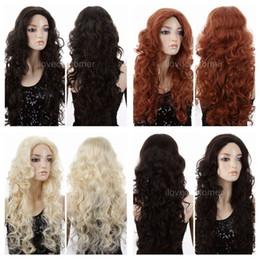 Wholesale Wig Orange Curly Long - ePacket free shipping Women Long Lolita Curly Wavy Long Black Blonde Brown Orange Cosplay Party Wigs