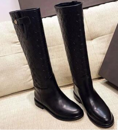 Wholesale Genuine Leather Knee High Boots - LUxury Brand Boots 100% Real Leather Women BOOts High Quality flat Boots Designer Brand Womens Boots Famous Brand Winter Boots Snow boots