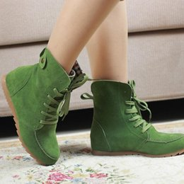 Wholesale womens red wedge shoes - Women lace Ladies sweet Round Toe Flat Shoes Martin Boots Solid Lace Up Womens Casual Shoes Comfort Autumn Shoes