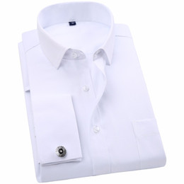 Wholesale Cufflinks Fabric - Wholesale- Men 's French Cufflinks Business Dress Shirts Long Sleeves White Twill Fabric Asian Size S, M, L, XL, XXL, 3XL, 4XL, 5XL, 6XL