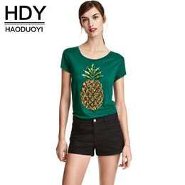 Wholesale Fruit T Shirts - 2017 New Fashion Women Short Sleeve Fruit Print Sequin Preppy Style Crew Neck Slim T-shirt 17408