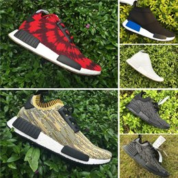 Wholesale Wine Boots - With Box 2017 Discount Cheap Wholesale NMD Runner PK Running Shoes Men Women Mesh Boost Sports Shoes Wine Red Free Shipping Size 5-11