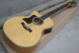 Wholesale Left Electric Guitar - HOT Wholesale TOP veneer 6 Strings Left Hand 614ce Ty Burlywood Acoustic electric guitar with Fisherman pickup Free Shipping