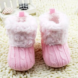 Wholesale Knitting Booties Infants - New Fantastic Infant Baby Crochet Knit Boots Booties Toddler Girl Winter Snow Crib Shoes Hot W79
