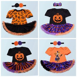 Wholesale Childrens Jumpsuits - 2017 kids halloween costumes baby romper girls black pumpkin jumpsuits with tutu skirts infant ruffle onesies + headbands childrens clothes