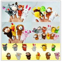 Wholesale Chinese Animal Zodiac - Wholesale-Chinese Zodiac 12pcs lot Animals Cartoon Biological Finger Puppet Plush Toys Dolls Child Baby Favor Finger Doll