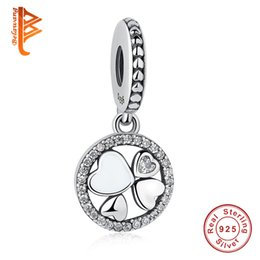 Wholesale Lucky Clover Heart Bracelet - BELAWANG 925 Sterling Silver Heart Charms Clover Lucky Day Dangle Charms Fit Pandora Charm Bracelet&Bangles Fashion DIY Style Jewelry Making