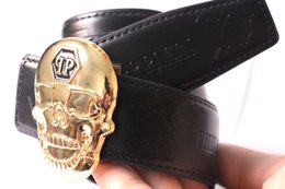 Wholesale Punk Buckle - Hot Brand P Belt high Quality Genuine Leather Designer Skull punk Cowhide Q Belts For Mens womens Luxury MC Belts for gift