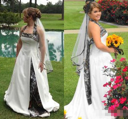Wholesale Camo Halter - 2017 Country Style Camo Wedding Dresses Halter A Line Sweep Train Camouflage Plus Size Bridal Gowns Custom Made