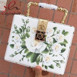 Wholesale Elegant White Handles - Wholesale-New style fashion design elegant white roses printing ceramic handle women's handbag shoulder bag mini messenger bag totes purse