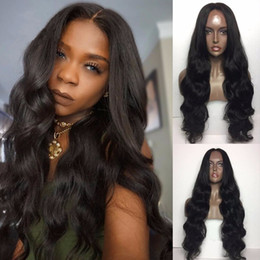 Wholesale Body Heat Head - Long Body Wave Natural Black Synthetic Lace Front Wig With Baby Hair Thick Full Head Heat Resistant Synthetic Wigs In Stock