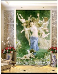 Wholesale High End Oil Painting - High end custom 3d wall murals wallpaper European oil painting character goddess angel classic entrance murals living room wall decoration