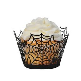 Wholesale Halloween Cupcake Wrappers - Wholesale-1 X Pack of 24 Black Spiderweb Laser Cut Cupcake Wrappers Wraps Liners Wedding Birthday Party Halloween Cake Decoration