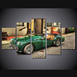 Wholesale Old Style Poster - 5 Pcs Set Framed HD Printed triumph tr3 old car style Painting on canvas room decoration print poster picture canvas Free shipping ny-1784