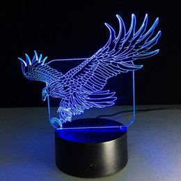 Wholesale Remote 12v Off Switch - Lifelike Eagle 3D Optical Illusion 7 Color Changing 15 Keys Remote LED Touch Acrylic Desk Lamp Night Light
