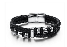 Wholesale Christmas Decorations Traditional - 2017 New product hot sale leather bracelet snap jewelry Men's leather bracelet Decorations bracelet 85