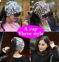 Wholesale Korean Headgear - Korean Women Spring Autumn Winter Warm Cover Headgear Beanies Winter Scarf Knitted Hat Hip-hot Skullies Girls Gorros