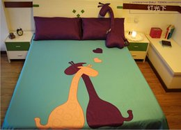 Wholesale Giraffe Comforters - Giraffe Comforter Bedding sets queen size king bed in a bag sheets patch bedspread duvet cover quilt doona bedset green purple