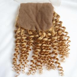 Wholesale Indian Curly Silk Base Closure - #27 Silk Base Closure Kinky Curly Honey Blonde Brazilian Peruvian Indian Malaysian Virgin Human Hair Free Part With Baby Hair 8-20 inch