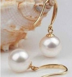 Wholesale Pearl Earring Stud Akoya Gold - Hot round AAA Akoya 9-10mm white pearl Earrings 14K gold