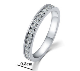 Wholesale Stainless Steel Rings 3mm - Stainless Steel White Shining Cubic Zirconia CZ Inlay Wedding 3MM Band Rings For Women Gifts Mix Size HZ
