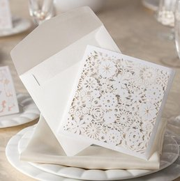Wholesale White Greeting Cards Envelopes - White Hollow Sun Flower laser Cut wedding greeting invitation card with one page Inner sheet and Envelope