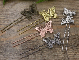 Wholesale Hair Bronze Diy - 20pc Lot 1.2*75mm Butterfly HairPin clip,Hair Sticks,Antique Bronze Gold Silver Black Hair Bobby pin DIY Vintage Jewelry