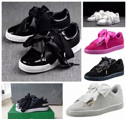 Wholesale Band Boards - Free shipping Bow tie suede basket heart satin black white and pink board shoes basketball silk banded bow goddess shoes with box 36-40