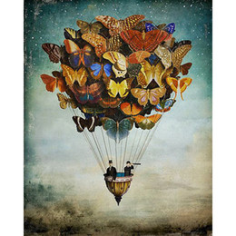 Wholesale Air Craft - Butterfly Air Balloon Full Drill DIY Diamond Painting Embroidery 5D Cross Stitch Crystal Square Home Bedroom Wall Decoration Decor Craft