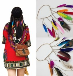 Wholesale Headbands For Womens - Bohemian Peacock Feather Hair Band For Womens National Style Hippie Leather Cord Wood Beading Head Band