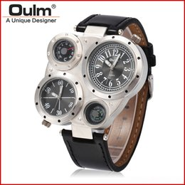 Wholesale Men Leather Watch Dual - 2017 new hot selling Oulm multi-function watch men dual movt numerals lndicate hours high quality outdoor designer male clock drop shipping