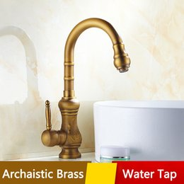 Wholesale Traditional Kitchen Taps - Archaistic Kitchen Basin Water Tap Single Holder Deck Mounted Faucet Exquisite Brass Wire drawing Low lead Tap for Home Hotel Free shipping