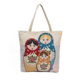 Wholesale Doll Lolita - SingleRussian dolls Female Shopping Bag Canvas Single Shoulder Bag Lady Large Capacity Casual Tote Bags Women Handbag Women's Handbag Female