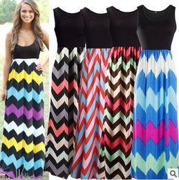Wholesale Chevron L - 2017 Women Wave Stripe Dresses Bohemian Maxi Dress Sexy Elegant Dress Round Collar Summer Dress Sleeveless Chevron Casual Dresses Vestidos