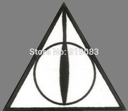 """Wholesale Deathly Hollows - 4"""" Harry Potter The Deathly Hollows Logo patch Comics tv movie Embroidered Emblem applique iron on patch cosplay costume"""