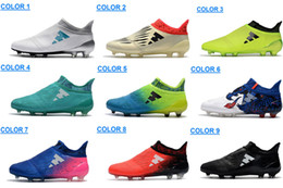 Wholesale Messi Cleats White - Men's X 16 Purechaos FG AG Soccer Shoes Men Messi 16 Pureagility FG Football Shoes Male Soccer Boots Football Boots Soccer Football Cleats