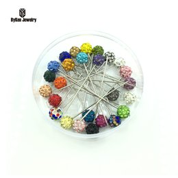 Wholesale scarf brooch clip - Wholesale- 50pcs box New Fashion Colorful 8mm Rhinestone Ball Muslim Brooch Pin Hijab Scarf Pins, Scarf Clip,Wedding Pin,Can Pick Color