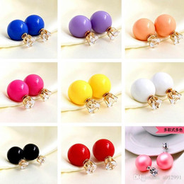 Wholesale Cheap Crystal Earings - 2017Double side Pearl Crystal Earrings with Retail packaging candy ball gold plated Crown stud Earings cheap wedding jewelry for women girls
