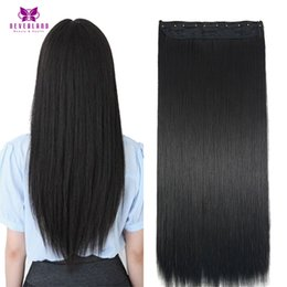 Wholesale 125g Hair Extensions - Wholesale- Neverland Straight Hair 24inch #1B Black Synthetic Hair Women Natural Hair Extensions 125g 60cm Long Fake Hairpiece Extension