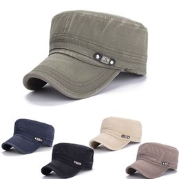 Wholesale Stylish Army Hats - Wholesale- Simple Stylish Army Cotton Flat Roof Trucker Hat Baseball Cap For Men Outdoor Casquette JL