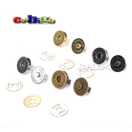 Wholesale 14mm Buttons - 10set Magnetic Snap Fasteners Clasps Buttons Handbag Purse Wallet Craft Bags Parts Accessories 14mm 18mm Pick Colors